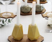 Yellow Shabbat candlesticks - Geometric ceramic candle holders- Candleholders-Modern Judaica - Passover gift Made in Israel