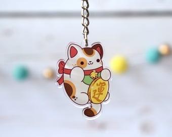 """Lucky Cat 2"""" Acrylic Charm Keychain ( Kawaii maneki neko )"""