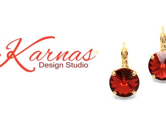 SCARLET 12mm Leverback Drop Earrings Made With Swarovski Crystal *Pick Your Finish *Karnas Design Studio™ *Free Shipping*
