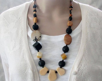Earthy Gemstone Necklace, Semi Precious Stones, Statement, Chunky, Natural Tones,  Handmade Necklace, Jade, Modern Design, Gift for Wife