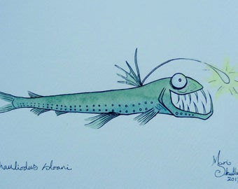 Viperfish - Matted original watercolour painting