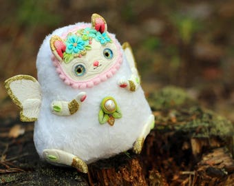 white rabbit doll bunny cute toy winged rabbit winged animal doll ooak fantasy creature ooak
