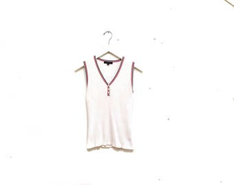 Vintage 90s Simple White Cotton Ribber Tank Top / Red White Blue Cotton Ginny Ribbed B