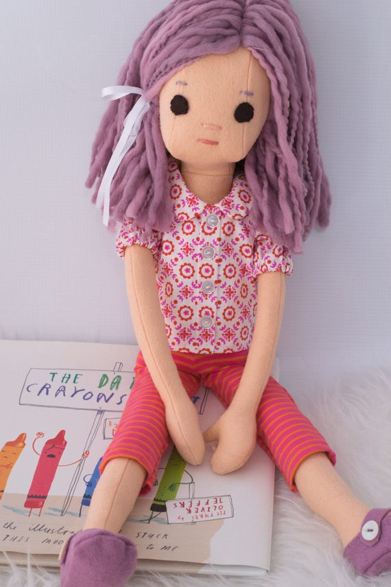 Rag Doll with Purple Hair and Wardrobe