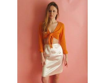 60s Satin Pencil Skirt XS