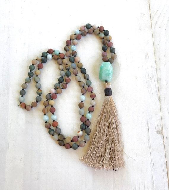 Mala Beads For Change, Landscape Jasper Mala necklace, Amazonite Guru Bead, 108 Bead Mala, Mantra Mala Necklace, Earthy Mala Necklace