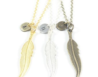 Feather Necklace, Gold Feather Necklace, Silver Initial Necklace, Spiritual Jewelry, In Memory Of Sympathy Gift, Remembering A Loved One