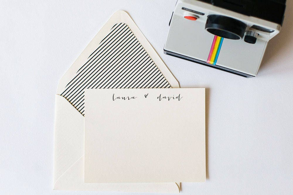 personalized stationery set flat note cards lined envelopes