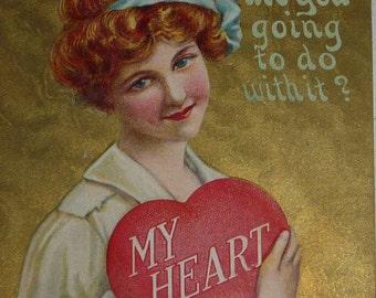 Pretty RedHead Holding a Heart Antique Valentine Postcard