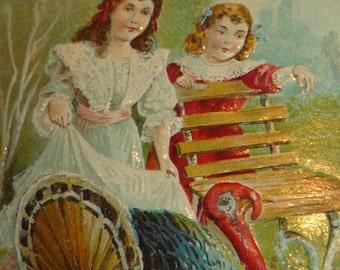 Little Girls Watching Big Tom Turkey Antique Thanksgiving Postcard