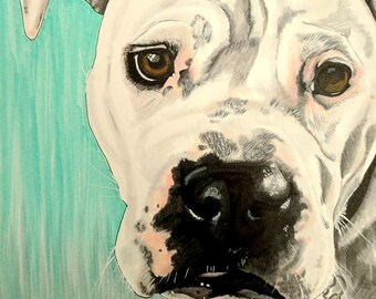 Original Custom Dog Portrait Drawing, Marker Drawing, Custom Pet Portrait, Personalized Custom Gift, Made to Order, Drawing From Photo