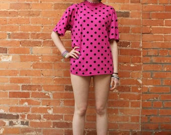 Vintage 1990s NOS Polkadot Pink T-Shirt