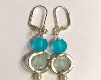 Aqua and Sea Foam Green Sea Glass Silver Plated Lever Back Dangle Earrings / Fun and Affordable
