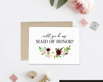 Bridesmaid Proposal Card, Will you Be My Bridesmaid Gift Idea, Maid of Honor Card, Wedding Card, Bridal Party Gift, Wedding Day Card, BB1