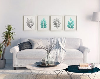 4 Piece Art Download, Living Room Print Set 16x20 Wall Art Set of 4 Digital Prints, Turquoise & Gray Art Master Bedroom Art Printable Plants