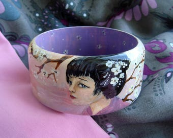 "Hand Painted Wooden Bangle Bracelet "" Sakura"" - Pink/Purple Cherry Blossom, Gift For Her, Деревянный браслет с росписью ""Сакура"""