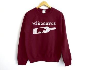 Winoceros Sweatshirt - Wine Sweater - Funny Wine Sweatshirt - Wine Lover Gift - Winosaur - Brunch Sweatshirt