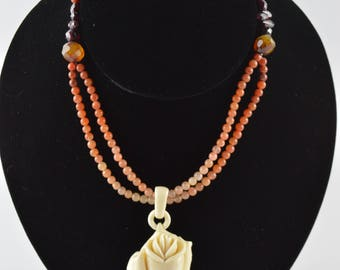 Carnelian Necklace with Carved Bone Rose Pendant