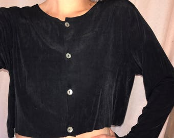 90s Black Crop Cardigan