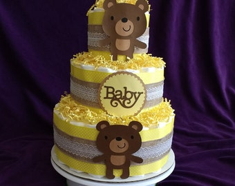 Diaper Cake - 3 Tier - Gender Neutral - Teddy Bear - Baby Shower - Centerpiece - Expecting Mother - Table Decoration - Hospital Gift