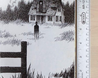 "Inktober original art ""haunted"""