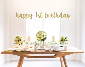 HAPPY 1st BIRTHDAY glitter banner, gold, one, script lettering, photo backdrop, party decoration