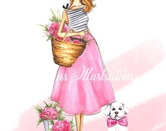 Bichon Havanese art, Fashion Illustration, Bichon art, Bichon Bolognese art,Havanese art, Dog print, Fashion print, Girl and bichon,