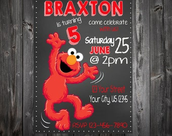Chalkboard Elmo Birthday Party Invitation
