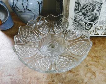 Original Vintage Pressed Glass Pedestal Cake Stand, Serving Plate, Afternoon Tea, Wedding