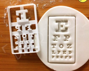 Snellen Chart cookie cutter | Eye Chart Exam biscuits cutters ophthalmologist vision Visual acuity test eyesight Optometrist Optician gifts