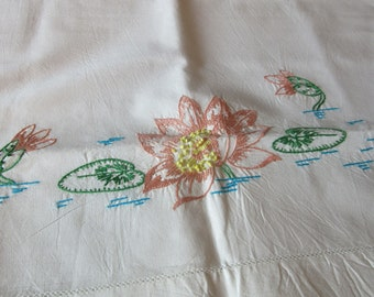 Vintage Hand Embroidered Pillowcase Set  Water Lilies