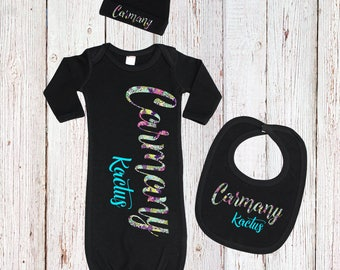 Baby Name Gown, Black Girls Newborn Gown Set, Floral Newborn Gown And Cap, Blue Baby Gowns for Girls,  Newborn Nightgown, Take Home Outfit