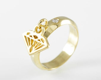 Gold Dangle Ring-Without diamond Stone - 2nd Payment For Alicia S