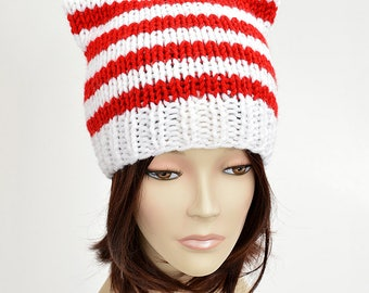 Christmas Hat Knitting Pattern // PDF Cat Hat Candy Cane Hat Christmas Beanie Striped Hat Santa Hat Cat Ears Christmas Outfit Cat Beanie