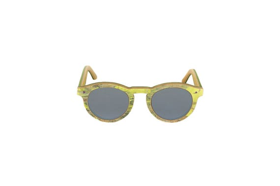 Lunettes de soleil 7PLIS #361 skateboard recyclé #BOWL jaune vert        verre plat gris bleuté miroir catégorie 3