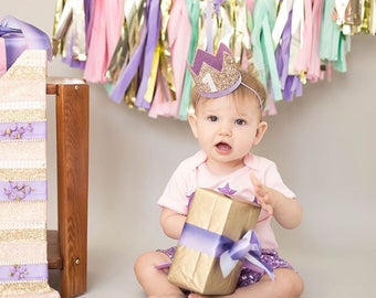 First Birthday Crown | 1st Birthday Girl Outfit for Cake Smash | Baby Girl First Birthday Outfit | 1st Birthday Hat | Gold Purple White