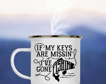 Fishing Camp Cup - If My Keys are Missin I've Gone Fishin - Funny Fishing Enamel Camp Mug - Dishwasher Safe