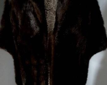 Luxury Vintage Mink Fur Stole - Dark Brown Ranch Mink Cape   Shrug   Bolero   Wrap   Shawl   Stole   Coat   Smaller Size   Mint Condition