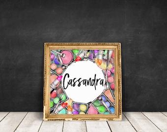 Custom Name | Makeup Wreath Lipstick Art, Personal Name Print, Makeup Poster, Make Up Lover, Makeup Guru, Digital Download, Printable Poster