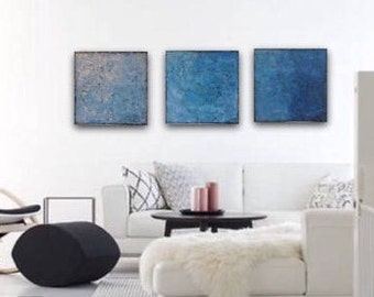 Large Blue Wall Art Canvas Art Painting Original Modern Art Blue Abstract Painting Acrylic Painting Blue Triptych Painting Textured Art