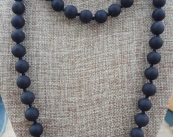 """40""""  Large 10mm Long Matte Black Onyx Necklace, Long Matte Onyx Necklace, Long Matte Black Necklace, Extra Long Matte Black Onyx Necklace"""