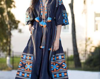 Vyshyvanka Embroidered Dress Linen Kaftan Mexican Dress Ukrainian Embroidered Dress boho Style Vyshyvanka Ethnic Ukrainian Clothing