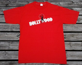 Vintage 80's Hollywood, California Charlie Chaplin Made in USA bright red Sized Large paper thin t-shirt