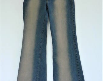 Trippsyz Super Bell Bottom Hip Hugger Distressed Jeans