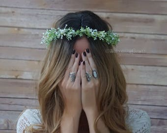 Baby's breath crown, flower crown, bridal flower crown, greenery crown