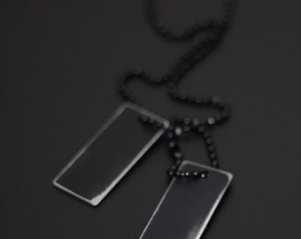 Blackened Stainless Steel Distressed Rectangle Square Army Dog Tags with Matching Ball Chain Necklace