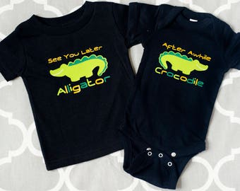 Sibling Shirts or Twin Baby Bodysuit, See You Later Alligator, After Awhile Crocodile, Infant T-shirt, Best Friends Shirts