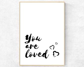 You Are Loved, Nursery Wall Art, Kids Room Print, Nursery Quote, Minimalist Decor, Typography Wall Art, Print For Kids, Scandinavian Art
