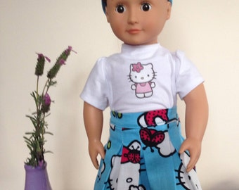 18 Inch Doll Clothes - Hello Kitty pleated skirt, hairband, and T-shirt. Made to fit the 18 inch American Girl Doll and Our Generation Doll