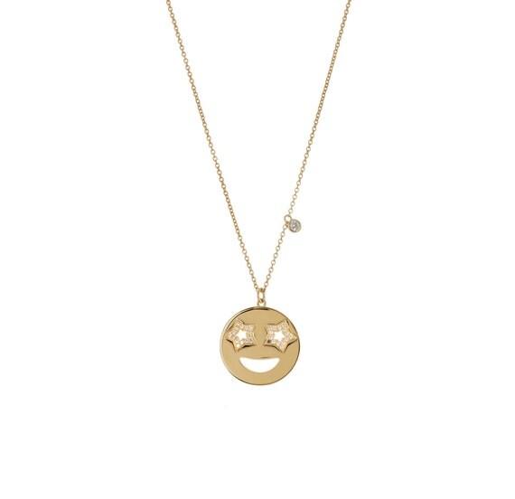 Gold Star Necklace Emoji Necklace Smiley Face Necklace Emoji